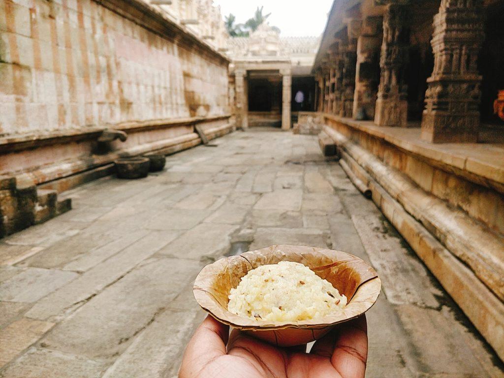 Melukote temple Pongal prasadam